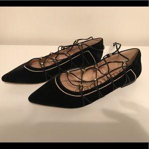 NWOT❗️Velvet Ballet Tie Up Flats